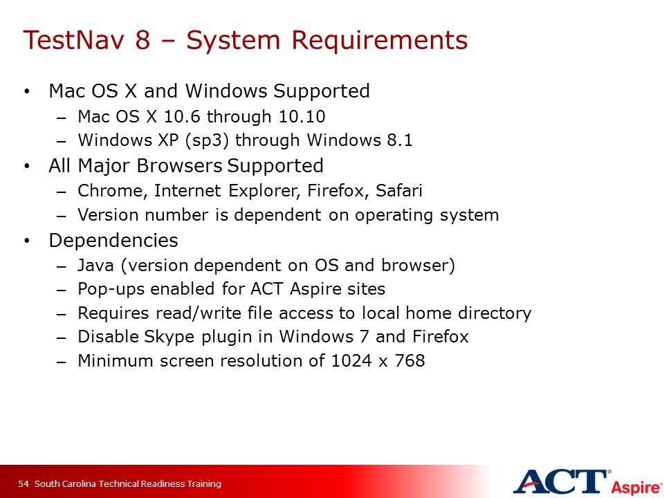 TestNav 8 – System Requirements