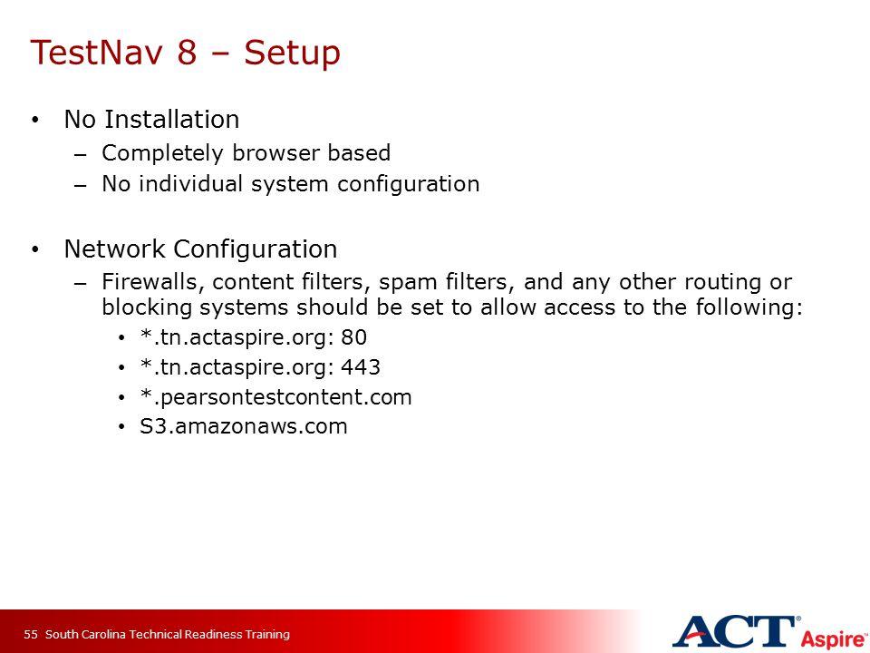 TestNav 8 – Setup No Installation Network Configuration
