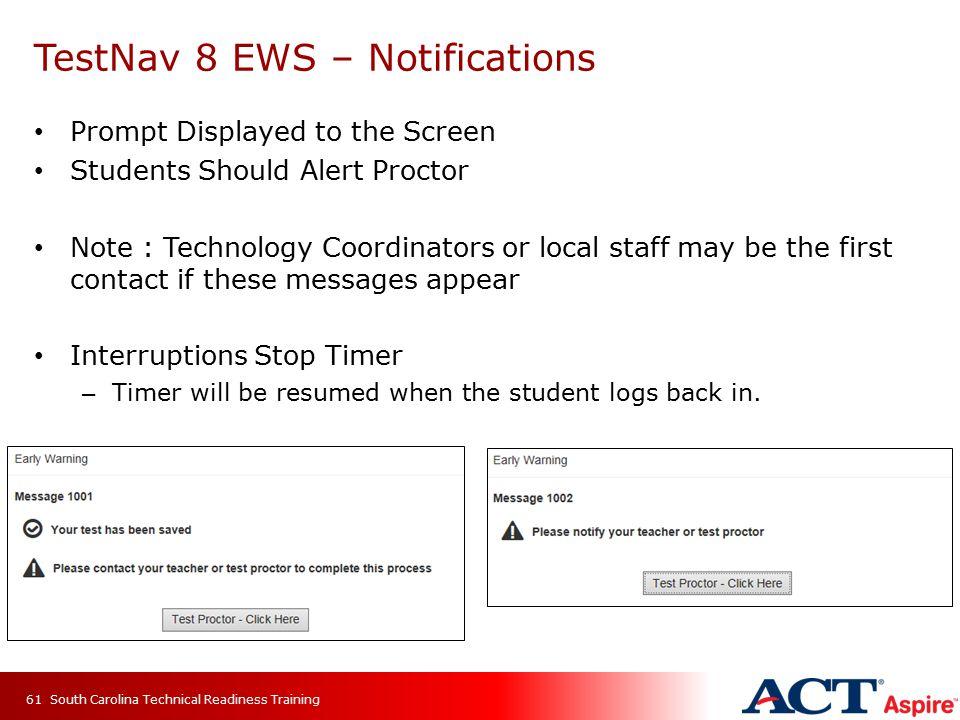 TestNav 8 EWS – Notifications