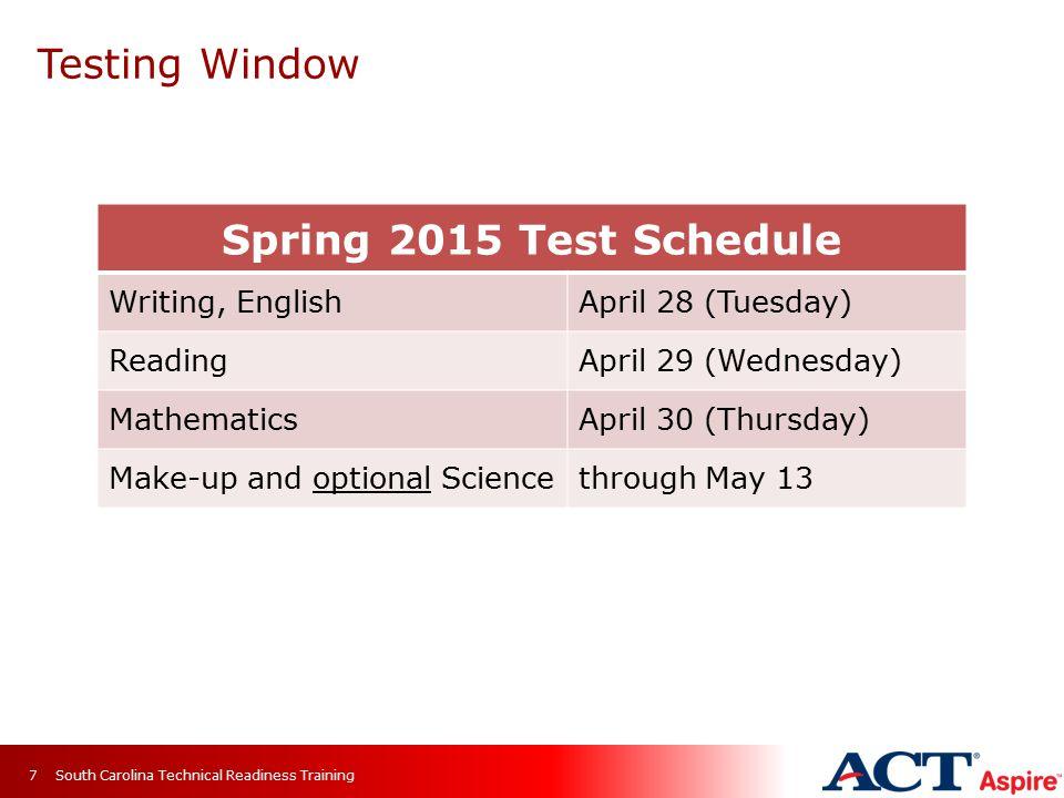 Testing Window Spring 2015 Test Schedule Writing, English