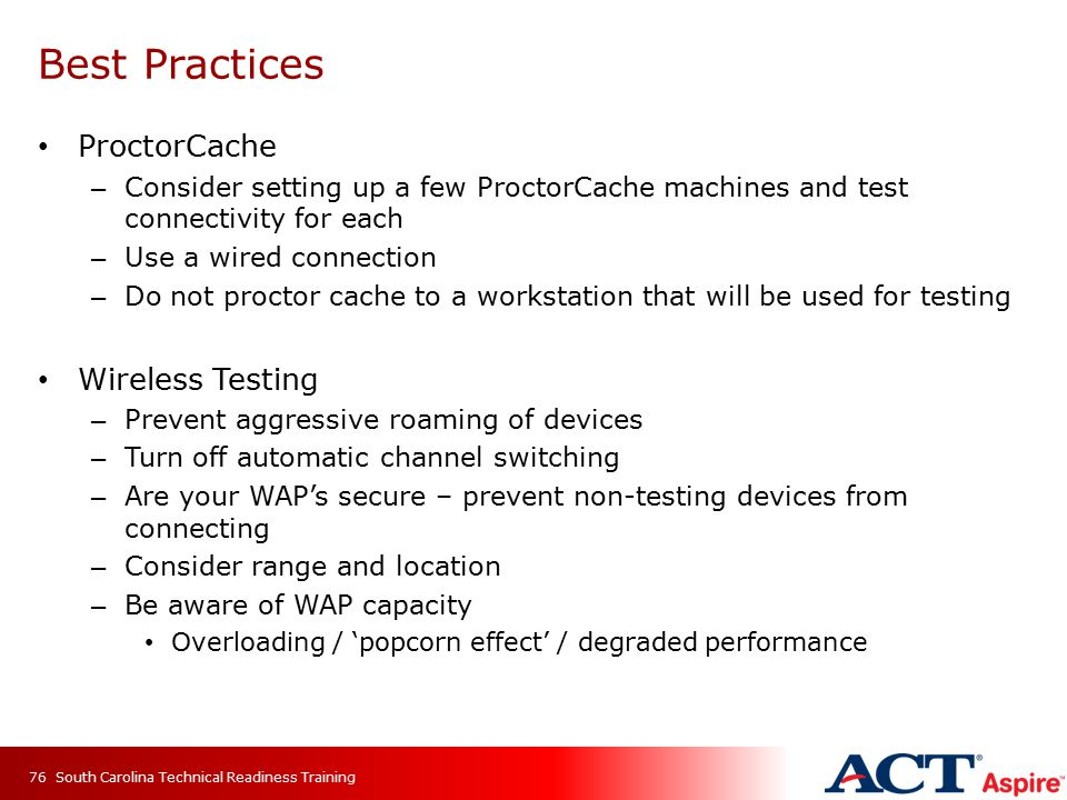 Best Practices ProctorCache Wireless Testing