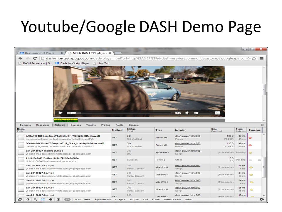 Youtube/Google DASH Demo Page