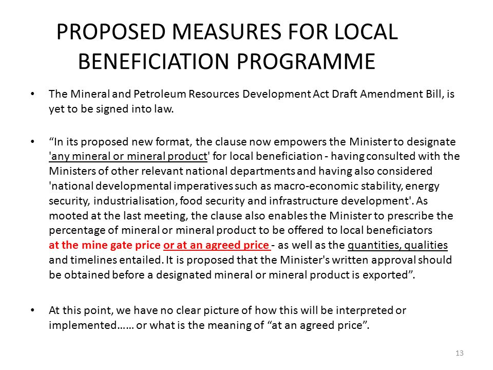 PROPOSED MEASURES FOR LOCAL BENEFICIATION PROGRAMME