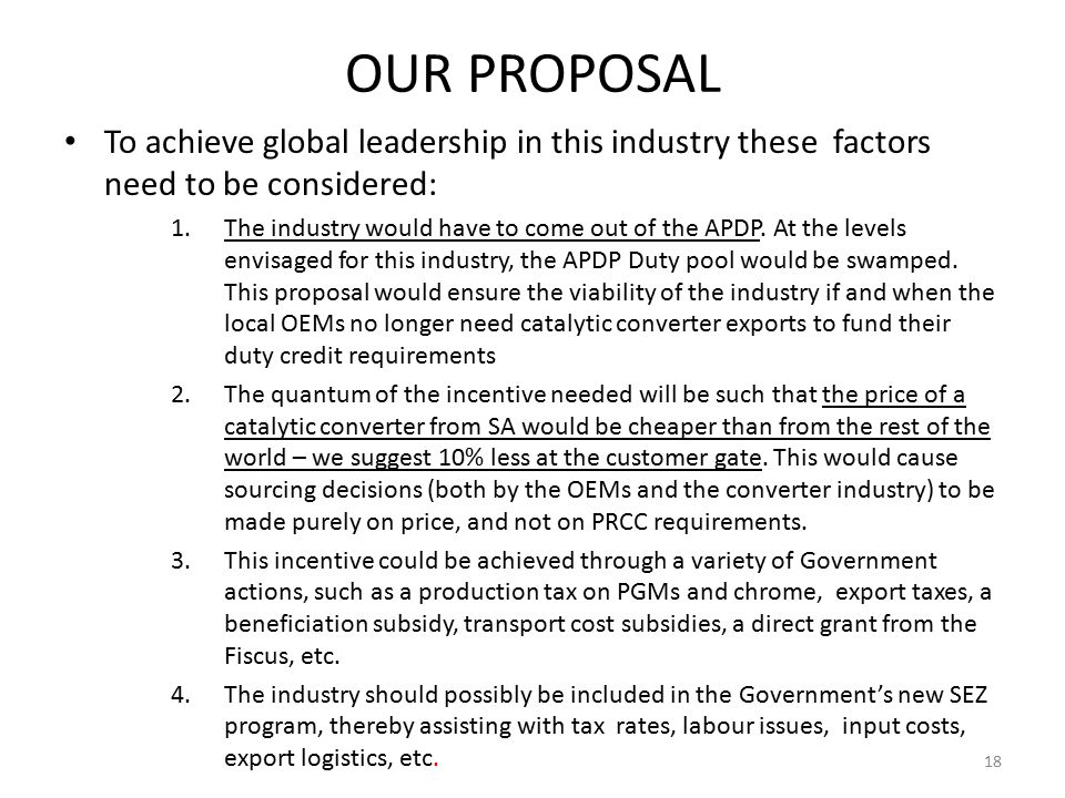 OUR PROPOSAL To achieve global leadership in this industry these factors need to be considered: