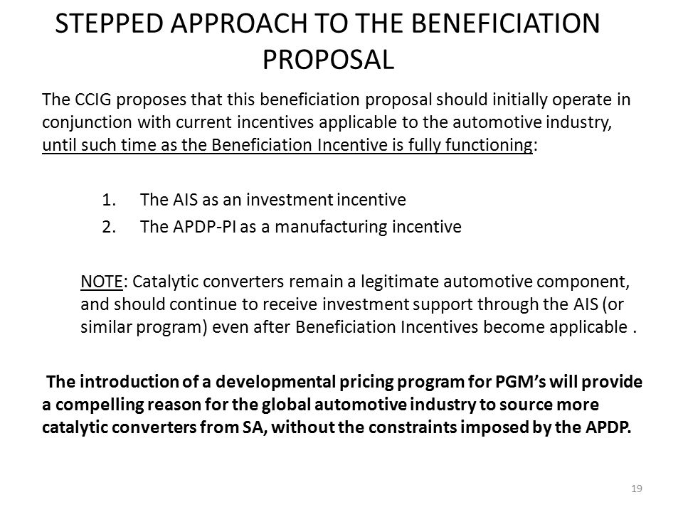 STEPPED APPROACH TO THE BENEFICIATION PROPOSAL