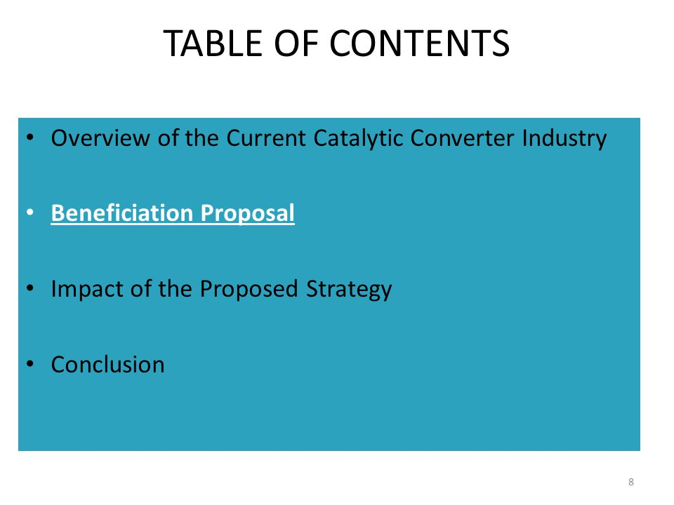TABLE OF CONTENTS Overview of the Current Catalytic Converter Industry
