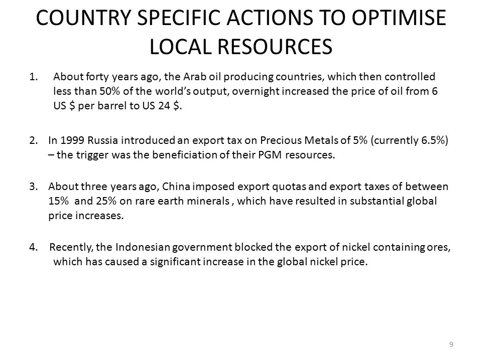 COUNTRY SPECIFIC ACTIONS TO OPTIMISE LOCAL RESOURCES