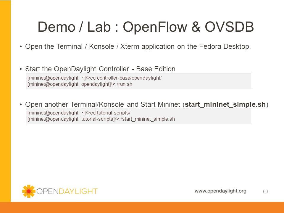 Demo / Lab : OpenFlow & OVSDB