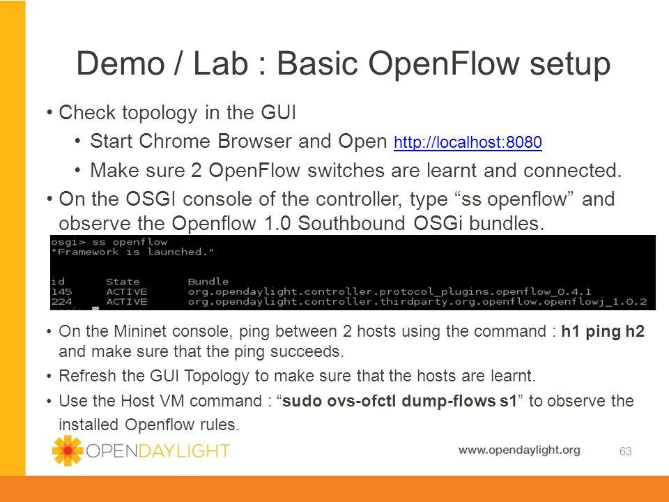Demo / Lab : Basic OpenFlow setup