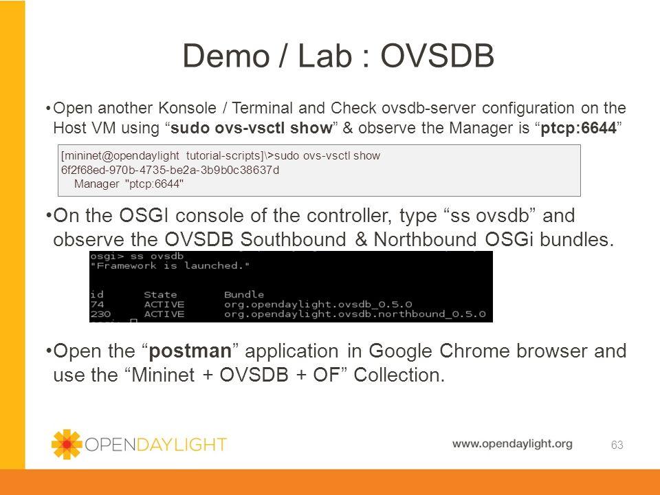 Demo / Lab : OVSDB