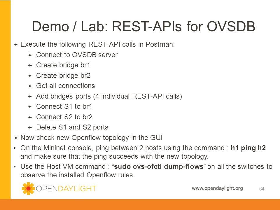 Demo / Lab: REST-APIs for OVSDB