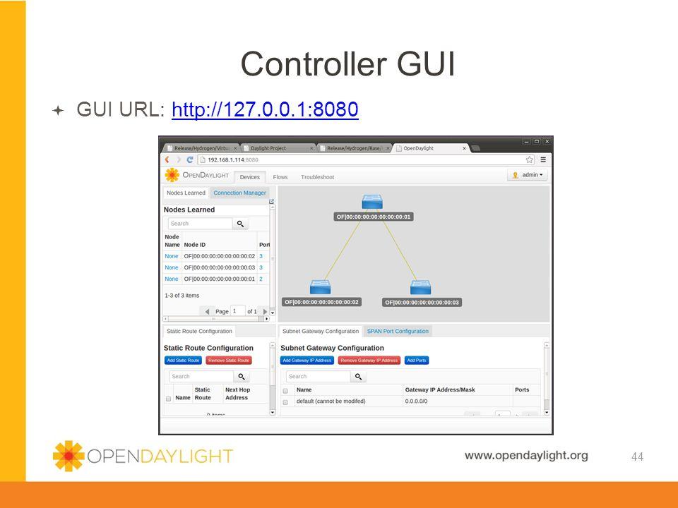 Controller GUI GUI URL: http://127.0.0.1:8080 44