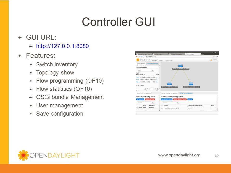 Controller GUI GUI URL: Features: http://127.0.0.1:8080