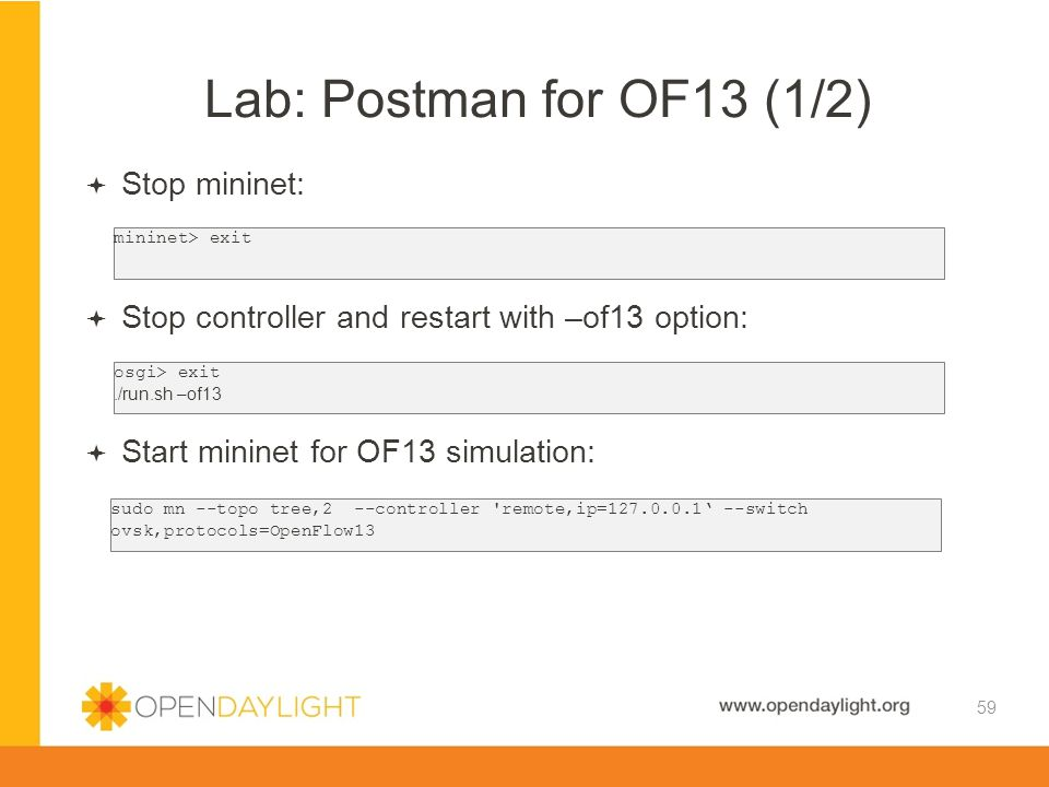 Lab: Postman for OF13 (1/2) Stop mininet: