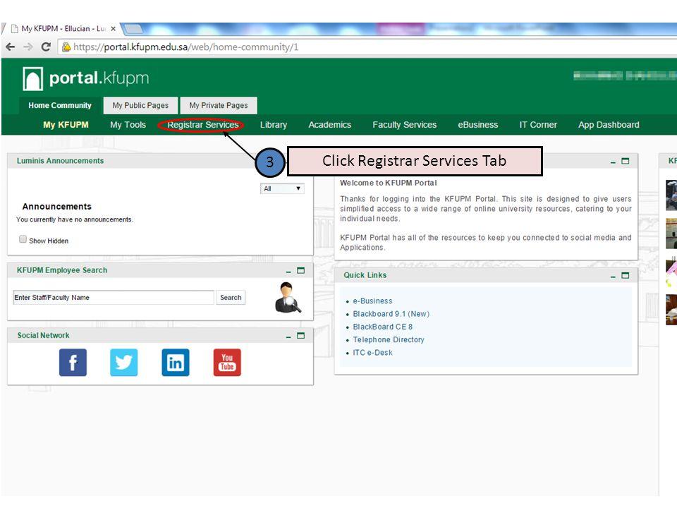 Click Registrar Services Tab