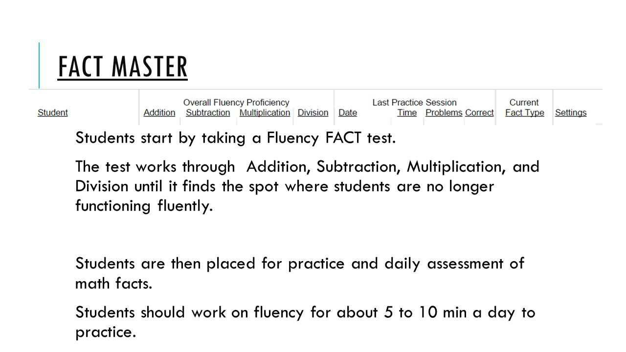 FACT Master Students start by taking a Fluency FACT test.