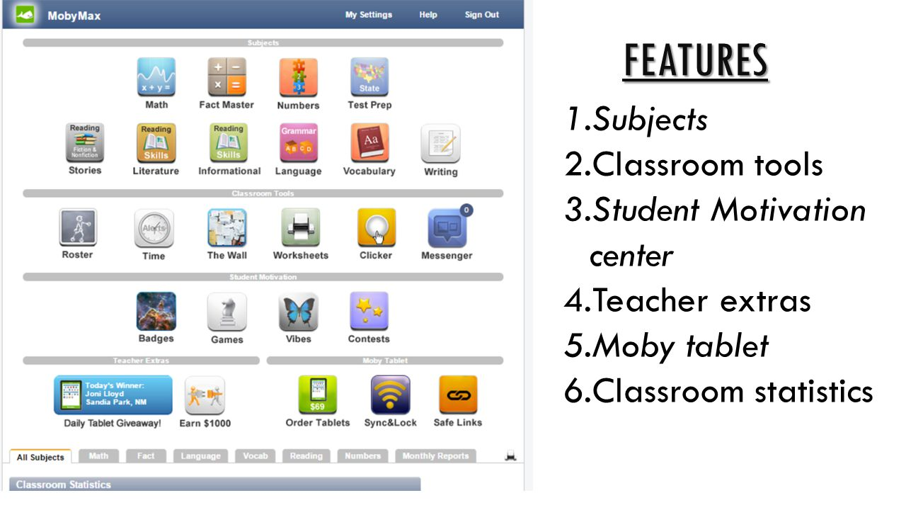 Features Subjects Classroom tools Student Motivation center