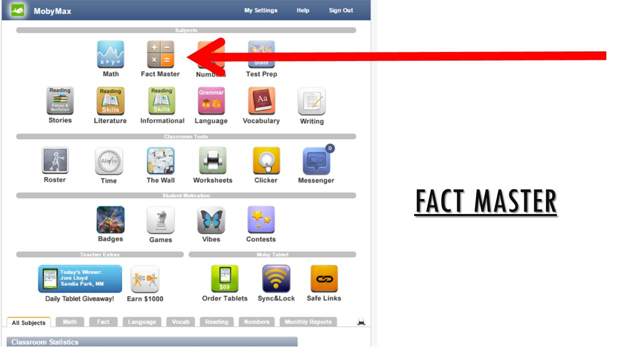 Fact master Subjects – this is where you will find your subject area content.