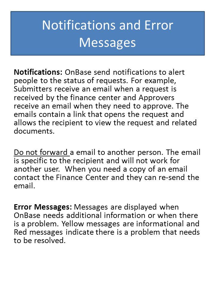 Notifications and Error Messages