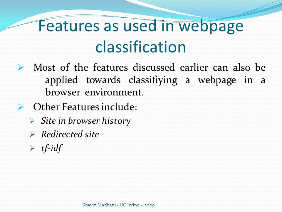 Features as used in webpage classification