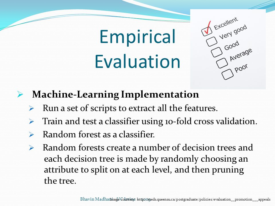 Empirical Evaluation Machine-Learning Implementation. Run a set of scripts to extract all the features.