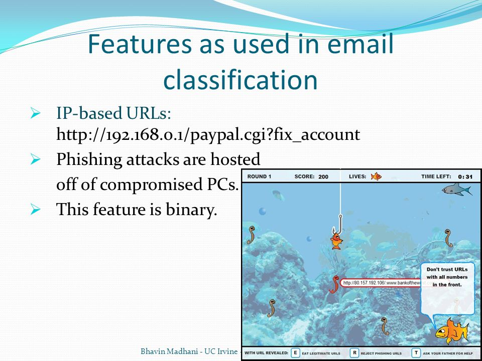 Features as used in email classification