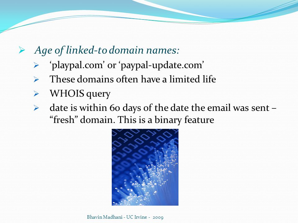 Age of linked-to domain names:
