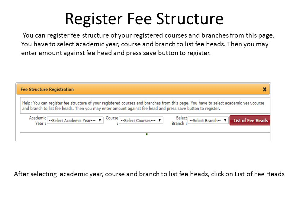 Register Fee Structure