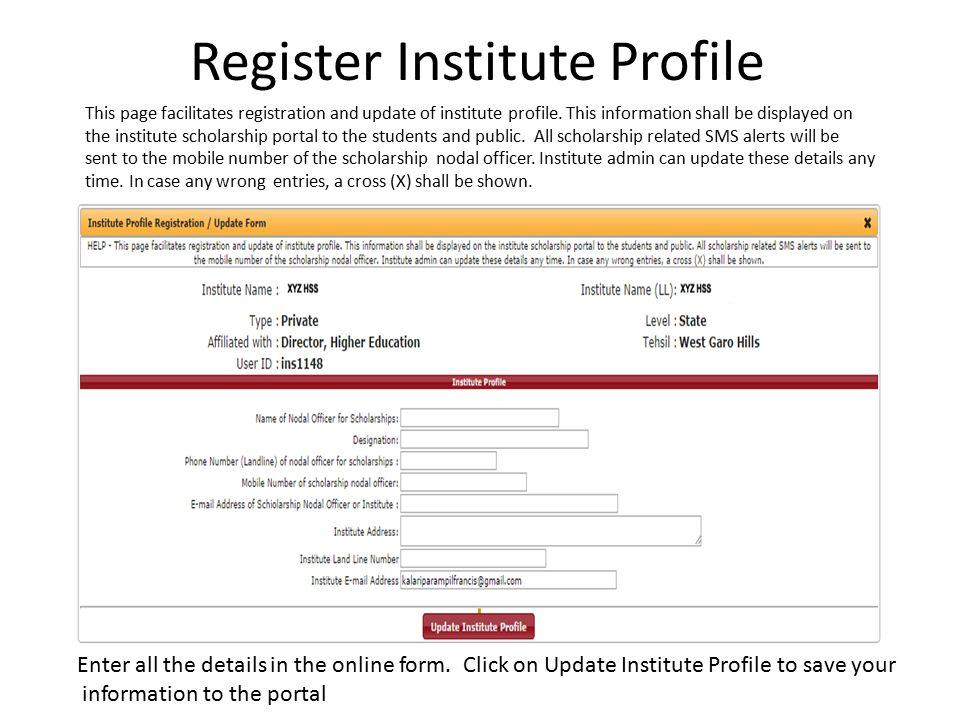 Register Institute Profile