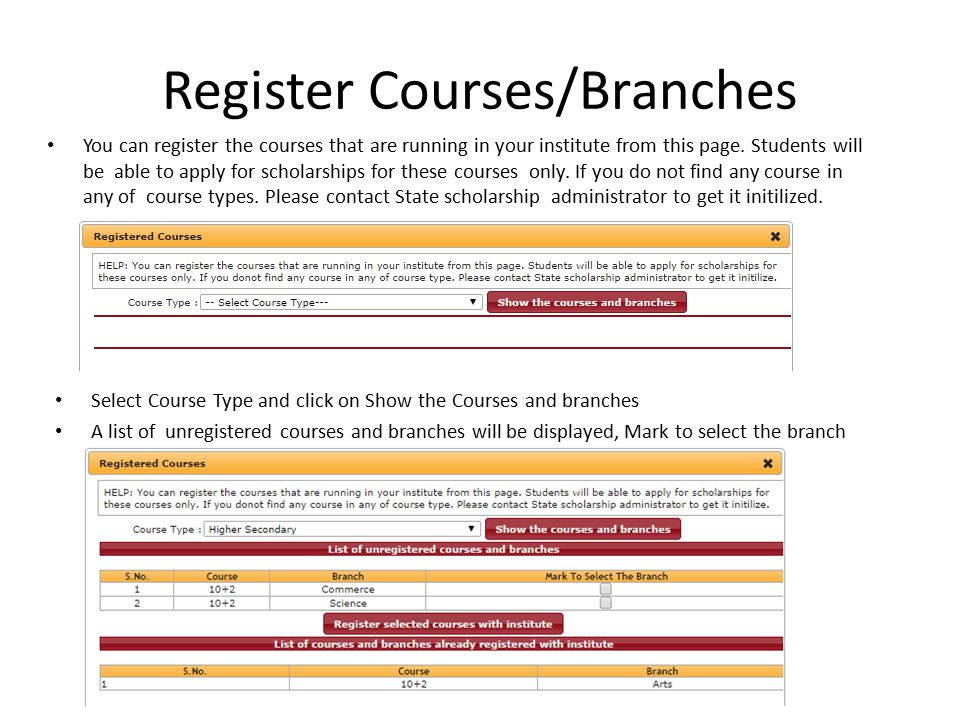 Register Courses/Branches