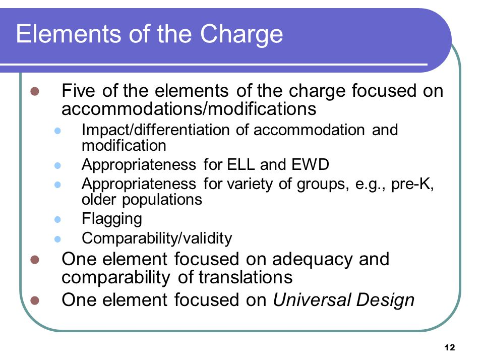 Elements of the Charge Five of the elements of the charge focused on accommodations/modifications.