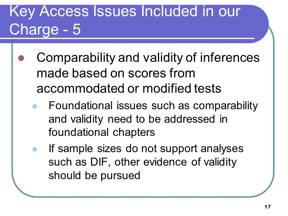 Key Access Issues Included in our Charge - 5