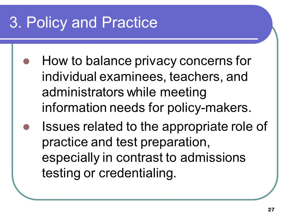 3. Policy and Practice