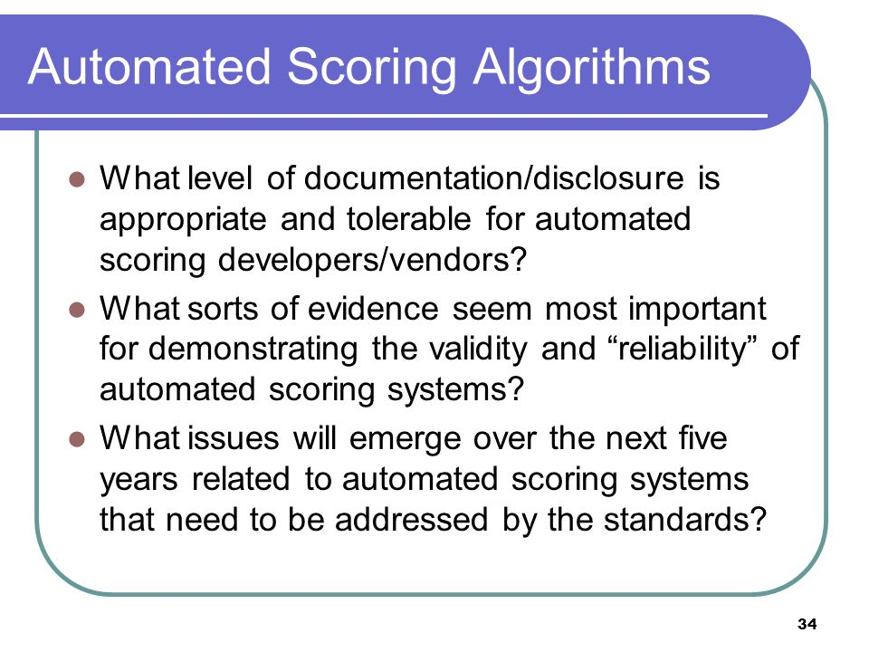 Automated Scoring Algorithms