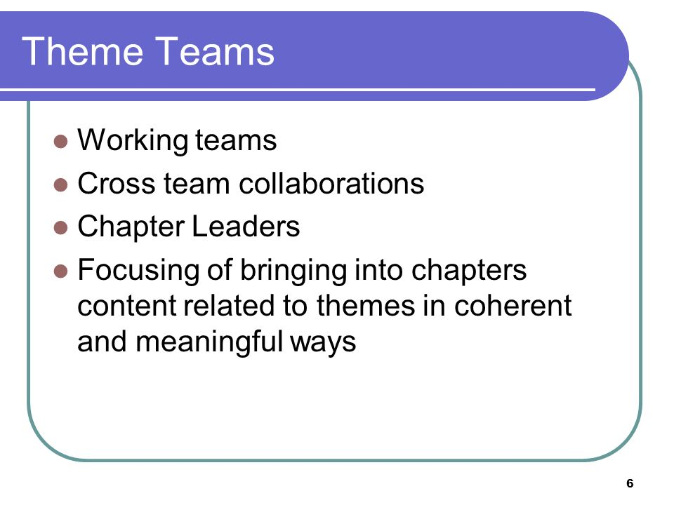 Theme Teams Working teams Cross team collaborations Chapter Leaders