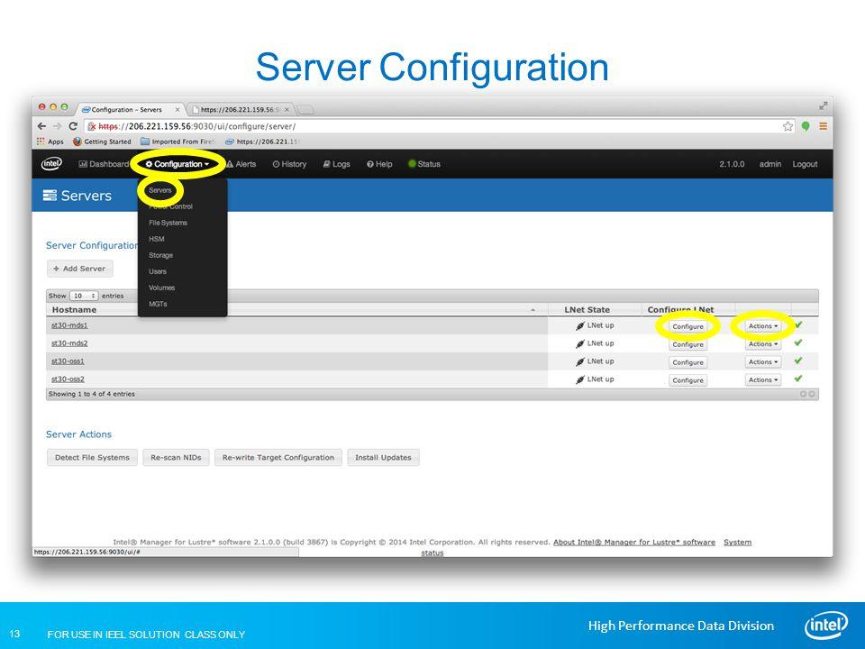 Server Configuration Lustre Installation and Configuration