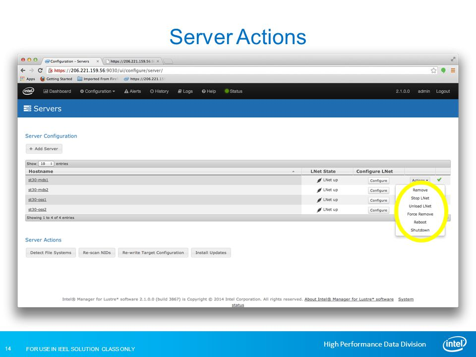 Server Actions Lustre Installation and Configuration
