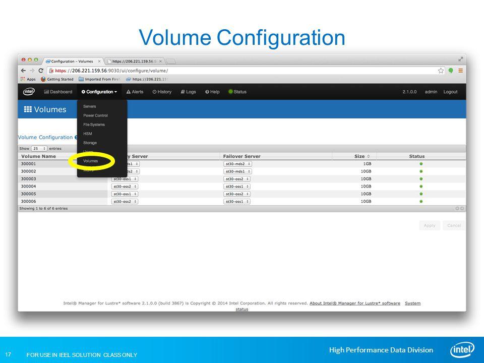 Volume Configuration Lustre Installation and Configuration