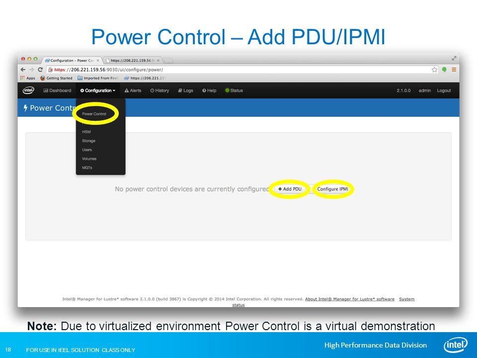 Power Control – Add PDU/IPMI