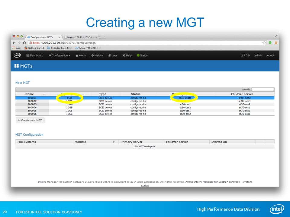 Creating a new MGT Lustre Installation and Configuration