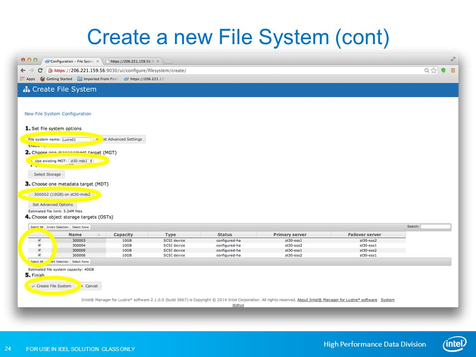 Create a new File System (cont)