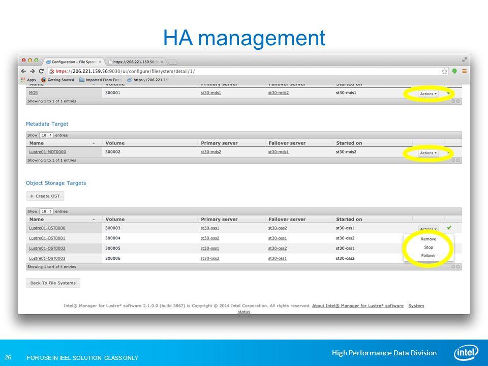 HA management Lustre Installation and Configuration