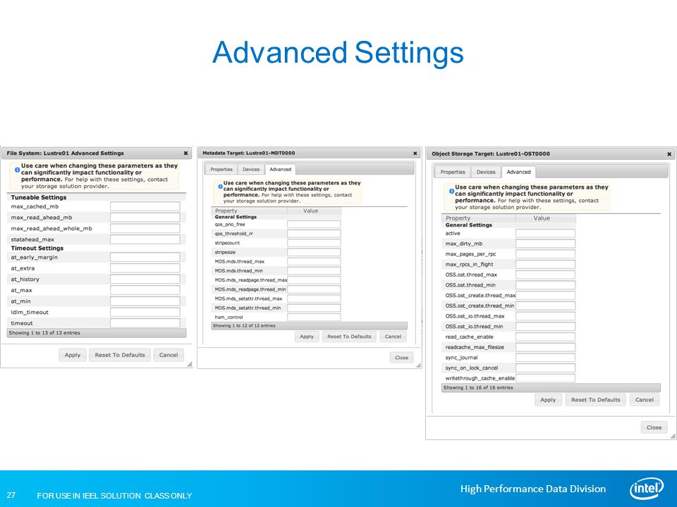 Advanced Settings Lustre Installation and Configuration