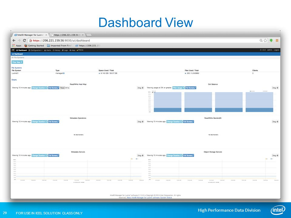 Dashboard View Lustre Installation and Configuration