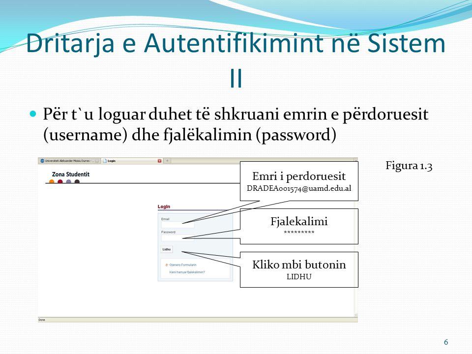 Dritarja e Autentifikimint në Sistem II