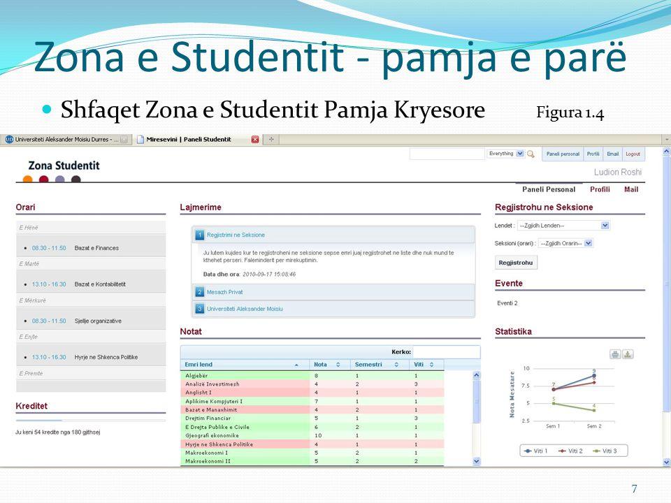 Zona e Studentit - pamja e parë