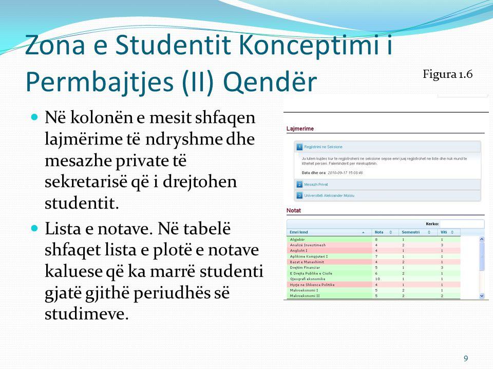 Zona e Studentit Konceptimi i Permbajtjes (II) Qendër
