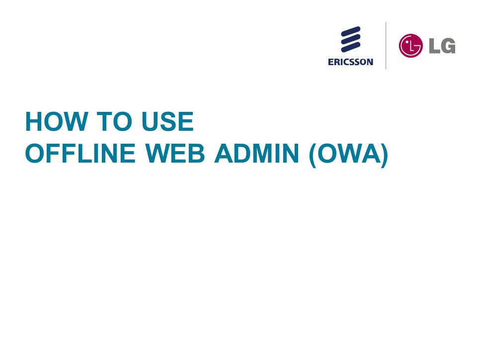 How to use offline web admin (OWA)