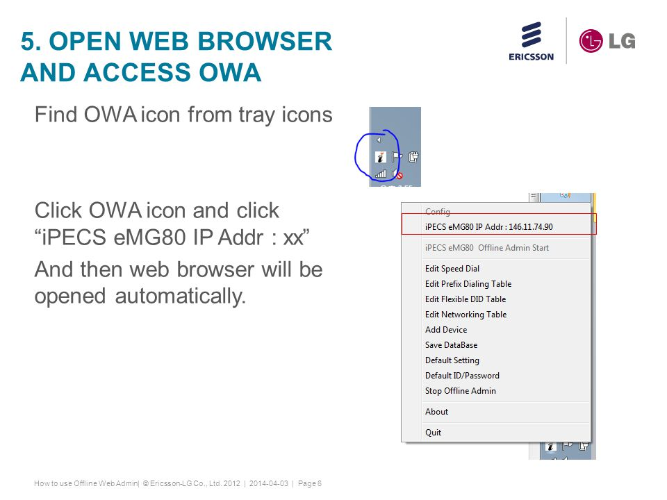 5. Open web browser and access owa