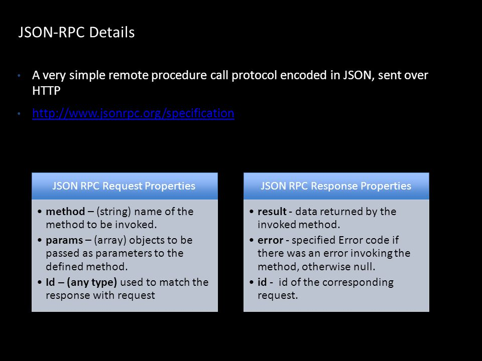 JSON-RPC Details A very simple remote procedure call protocol encoded in JSON, sent over HTTP. http://www.jsonrpc.org/specification.